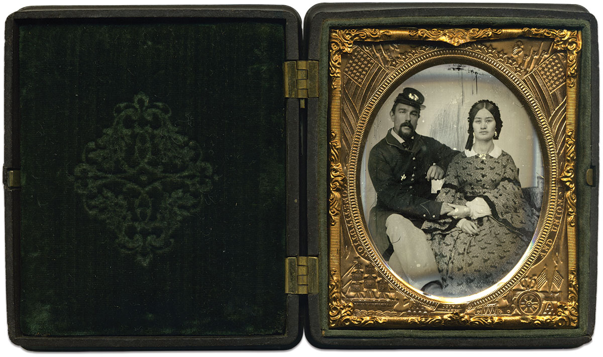 Sixth-plate ruby ambrotype by an anonymous photographer. Charles Darden Collection.