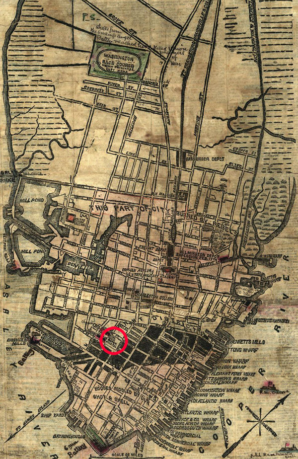"""In this detail of a circa 1864 map of Charleston, the Roper Hospital (red circle) is located along the northern edge of the Burnt District indicated in black. The area below it is labeled """"Houses riddled by our shot and shell."""" Library of Congress."""