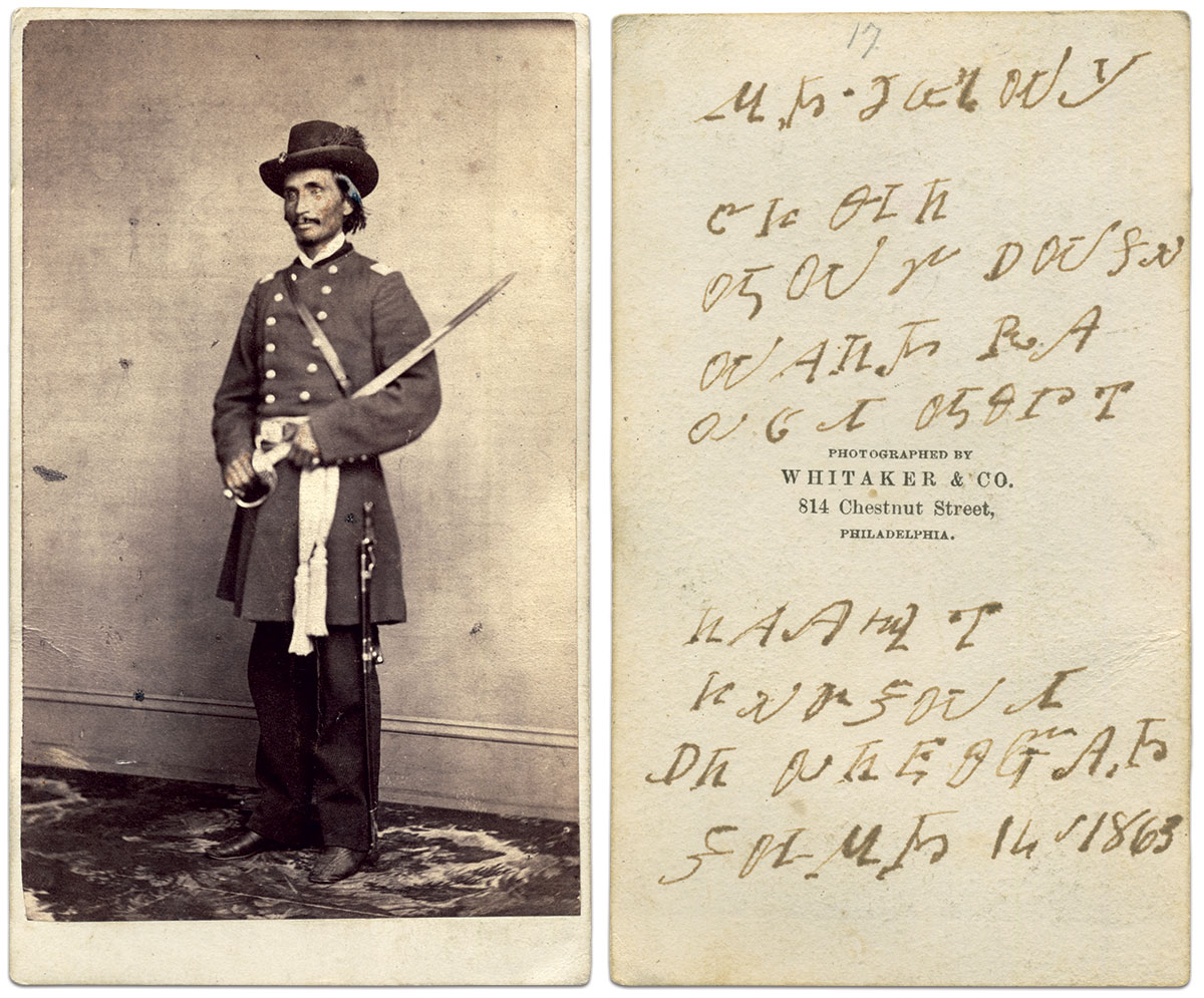 The inscription on the back of this portrait of Lewis Downing, translated from the original Cherokee alphabet: Lewis Downing / John Manning / Good man / From over the sea [or] Across the creek / A great friend / I will always / Remember him / Here among the chiefs / June 14 1863. Carte de visite by Whitaker & Co. of Philadelphia, Pa. Private Collection.