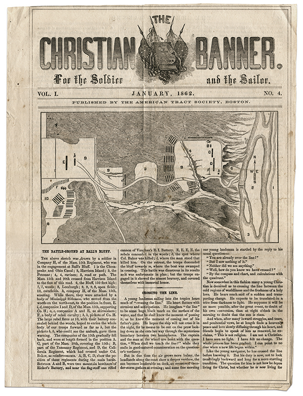A battlefield map was front page news in the January 1862 issue of The Christian Banner. It was sketched by a soldier in Capt. Philbrick's Company H. Ken Fleming Collection.