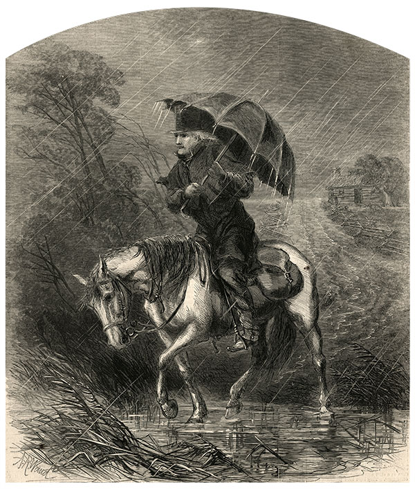 """""""The Circuit Preacher"""" by Alfred R. Waud appeared on the front page of the Oct. 12, 1867, issue of Harper's Weekly."""