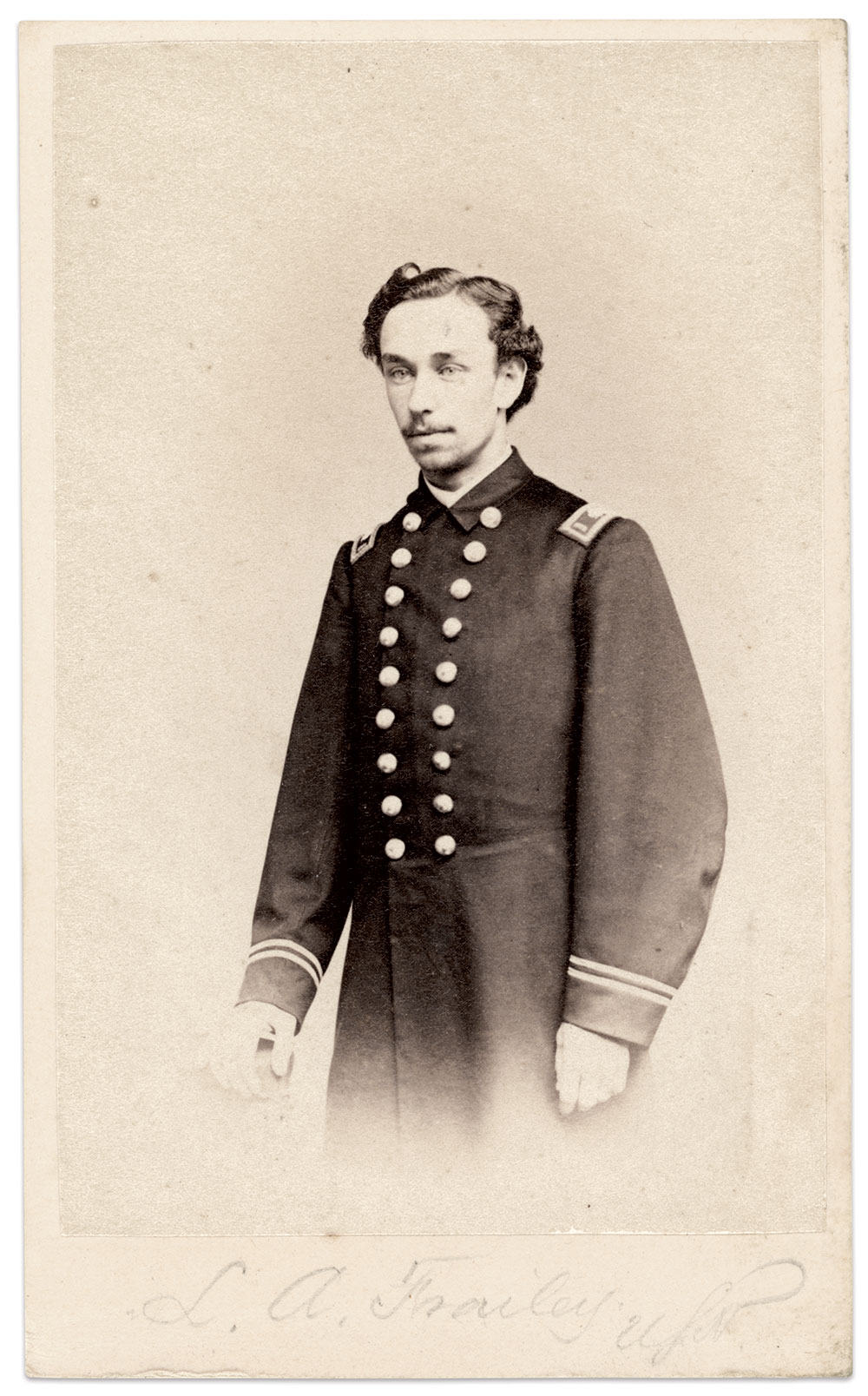 Leonard August Frailey, pictured as an assistant paymaster, circa 1864-1866. Carte de visite by Frederick Gutekunst of Philadelphia, Pa. Dale Niesen Collection.