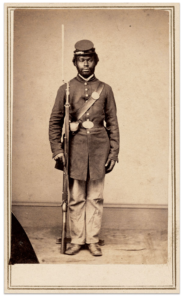 Pvt. Christopher Anderson, 108th U.S. Colored Infantry, 1865. Carte de visite by Gayford & Speidel of Rock Island, Ill. Collection of the National Gallery of Art.