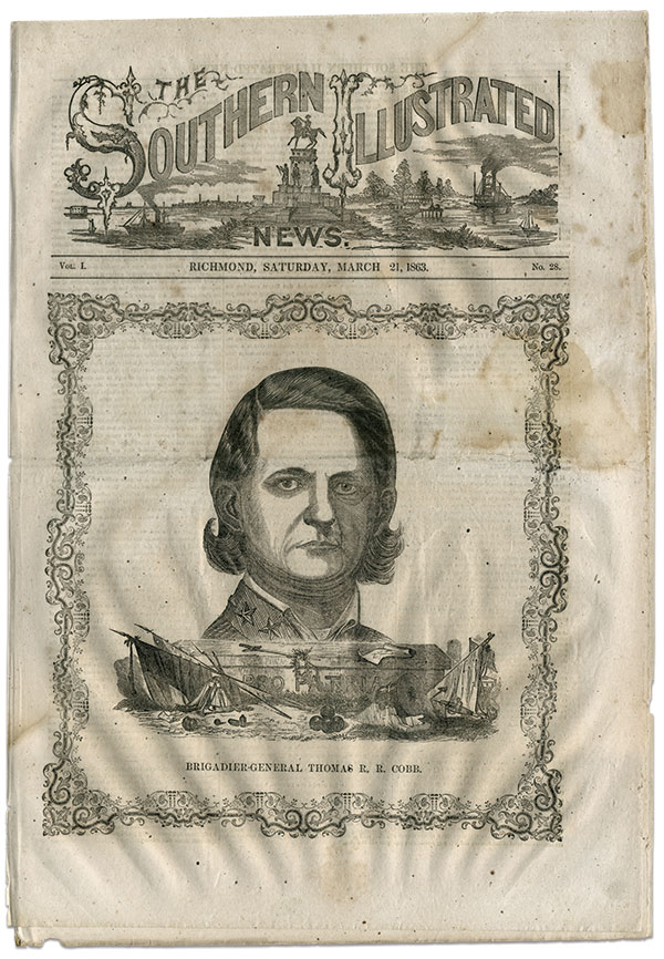 """Brig. Gen. Thomas R.R. """"Tom"""" Cobb, pictured here on the cover of the March 21, 1863, edition of the Southern Illustrated News, suffered a mortal wound at the Battle of Fredericksburg. Among the mourners was his older brother, Howell Cobb, a Confederate statesman and major general."""