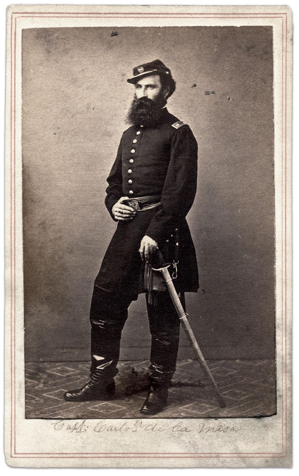 Carlos Alvarez de la Mesa, pictured as a captain in the 39th New York Infantry. Carte de visite by Joshua Appleby Williams of Lovell General Hospital, U.S.A., Portsmouth Grove, R.I. Ronald S. Coddington Collection.