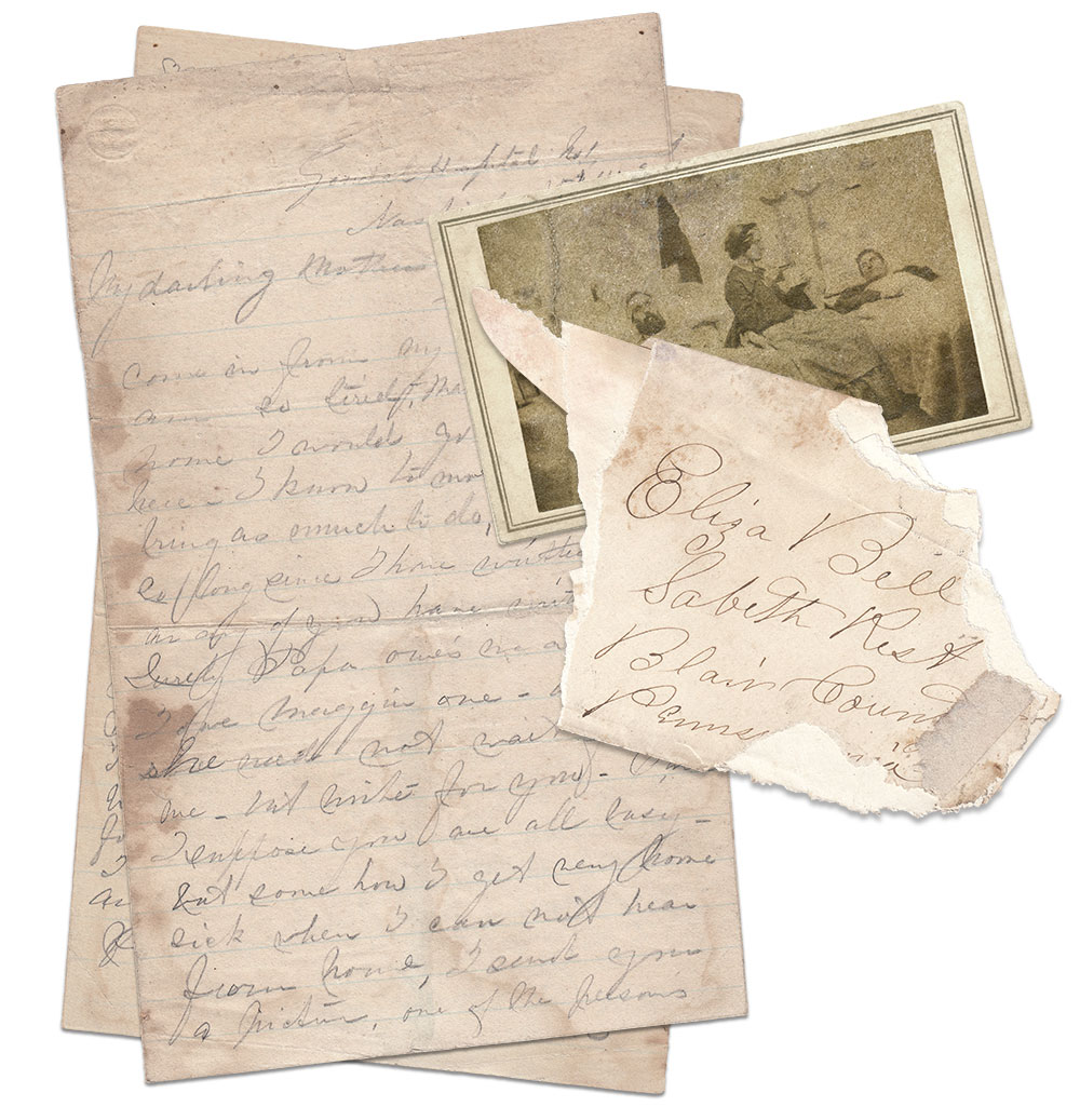 The tattered envelope pictured above contained Annie's original letter and her faded copy of the carte de visite in which she is prominently featured tending patients. The enlargement of the scene is taken from a carte de visite owned by the U.S. Army Heritage & Education Center in Carlisle Barracks, Pa. Chris Foard Collection.