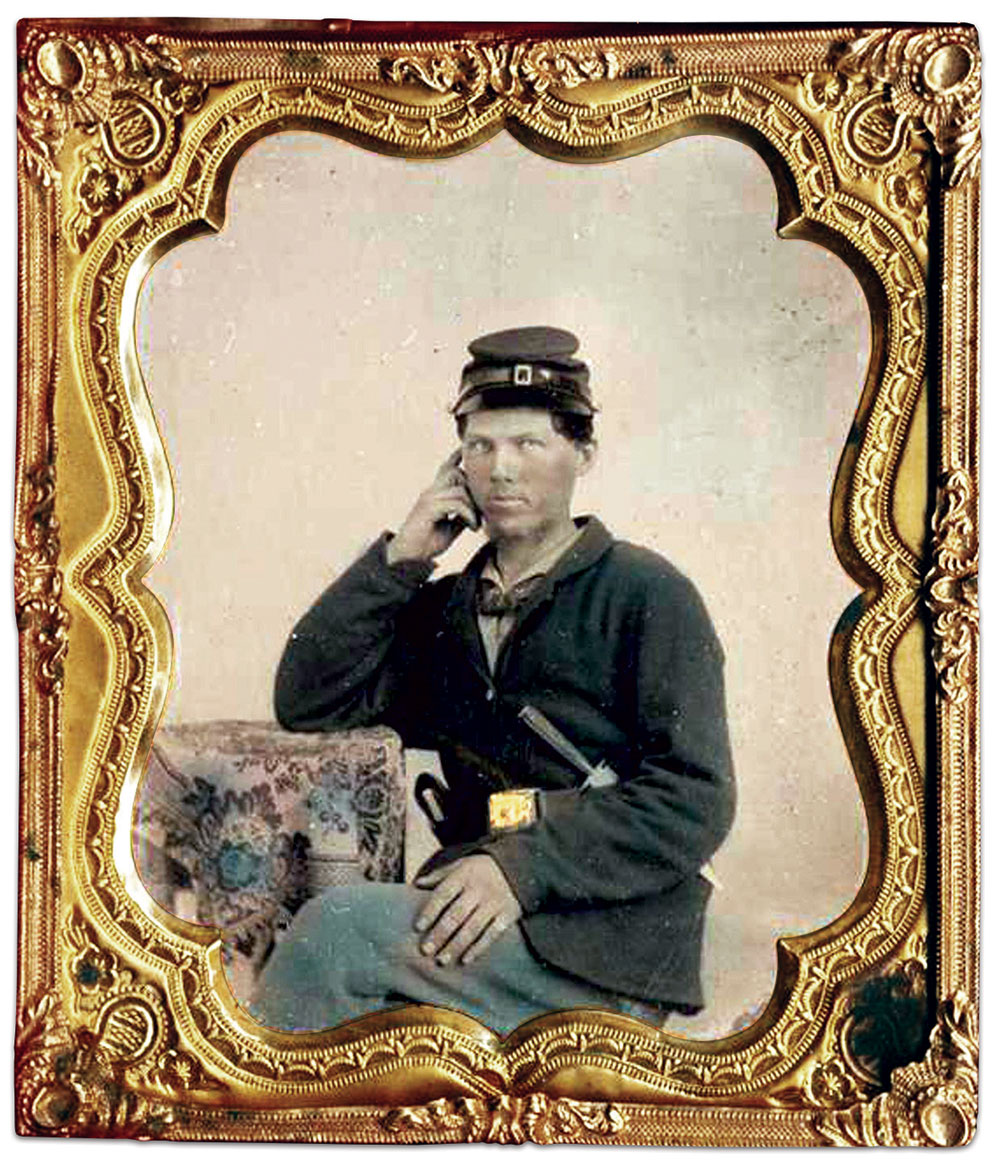 A real portrait of a Union soldier. Sixth-plate tintype by an anonymous photographer. Mike Medhurst Collection.