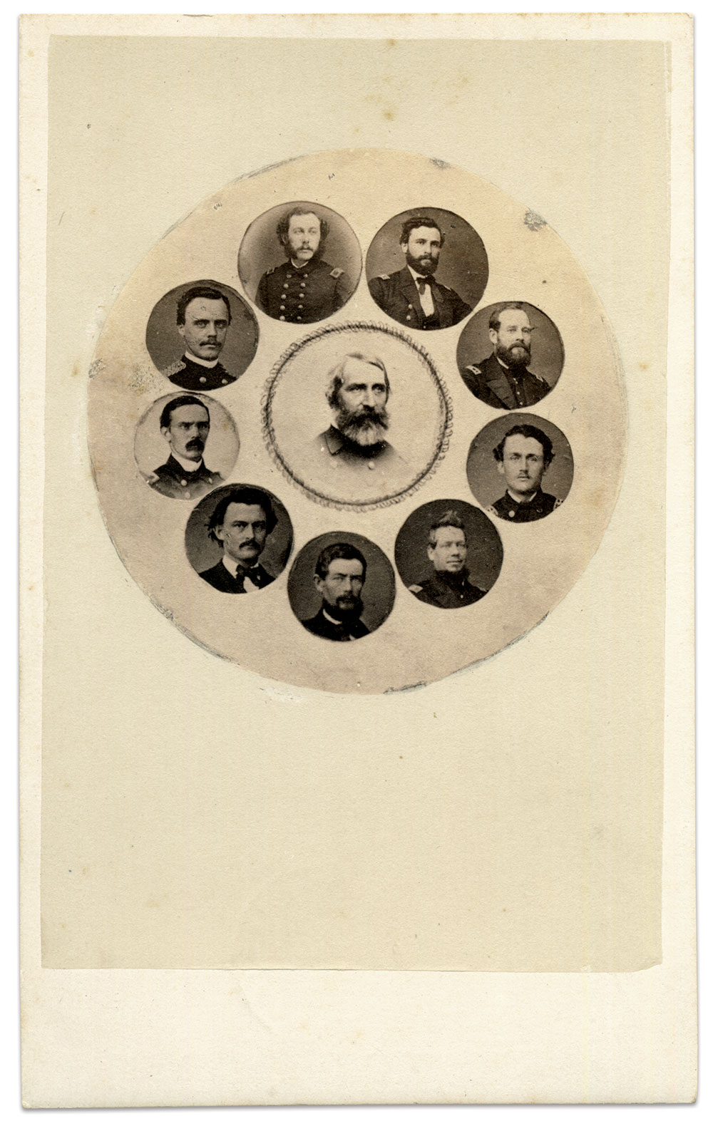 Cmdr. George H. Preble is surrounded by his subordinate officers of the St. Louis. Beginning with Gihon and moving clockwise, they are Lt. William F. Stewart, Acting Master George Cables, Lt. Cmdr. James Agustin Greer, Acting Master Allen Hoxie, Acting Ensign Hazard Marsh, Paymaster Judson S. Post, Asst. Surg. Frederick B.A. Lewis (the cartes de visite featured in this story are from his album) and Marine 1st Lt. William J. Squires. Carte de visite by Photo Americano of Lisbon, Portugal. Author's Collection.