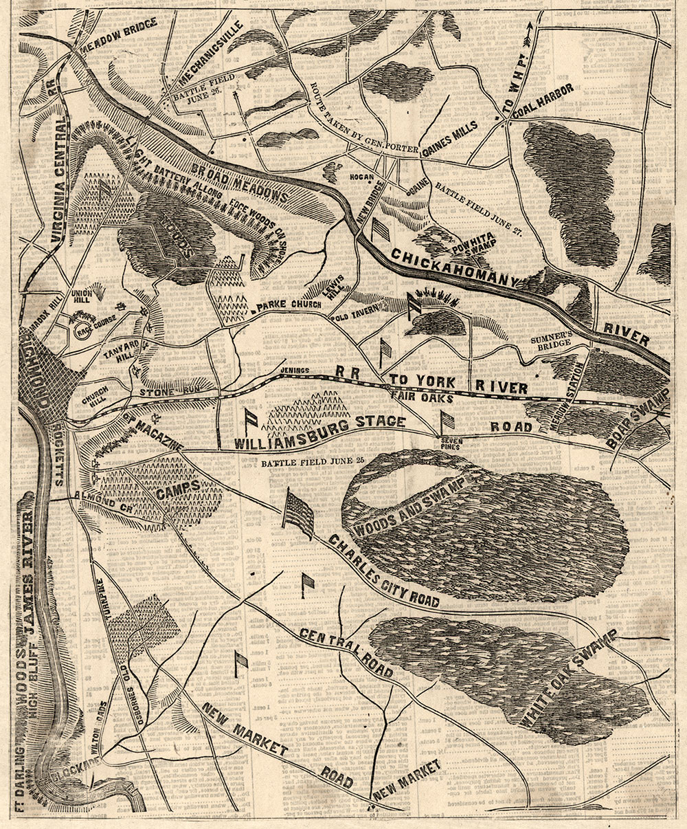 The region east of Richmond shows the location of battlefields on June 25, 26, and 27. It appeared in the July 2, 1862, edition of the Philadelphia Inquirer. Library of Congress.
