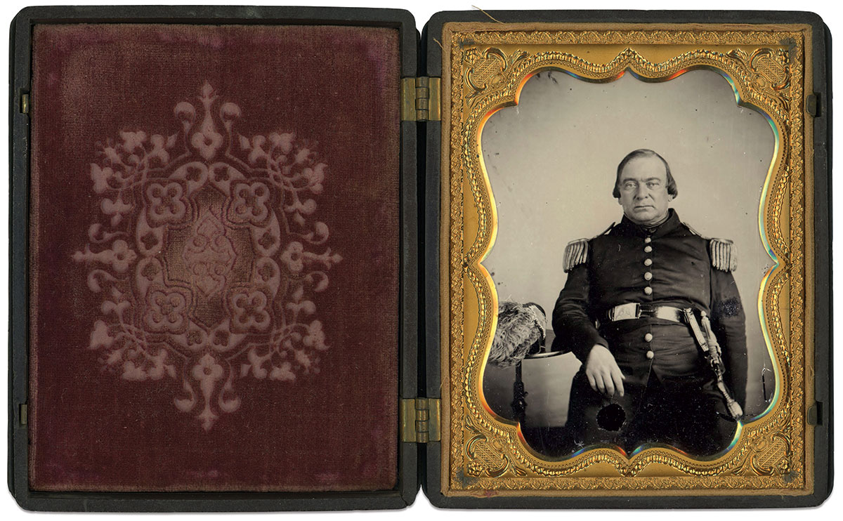 In this circa 1858-60 ambrotype, Tompkins is wearing a Model 1840 pattern sword. While typically made for Medical Staff, Tompkins service suggests the sword could be the exceedingly rare Store Keepers variation. Quarter-plate ambrotype by an anonymous photographer. Dan Binder Collection.