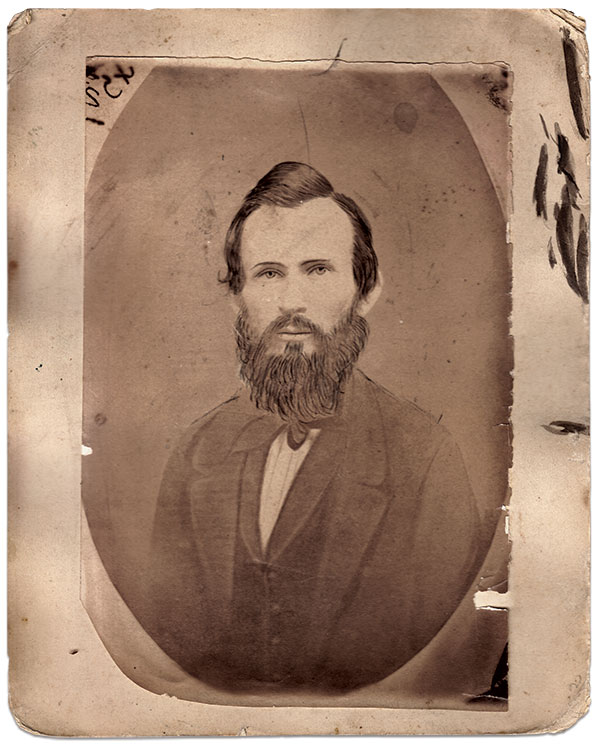 This photographic print of a portrait of David Heckendorn was likely produced soon after his death in 1864. Albumen print by an anonymous photographer.