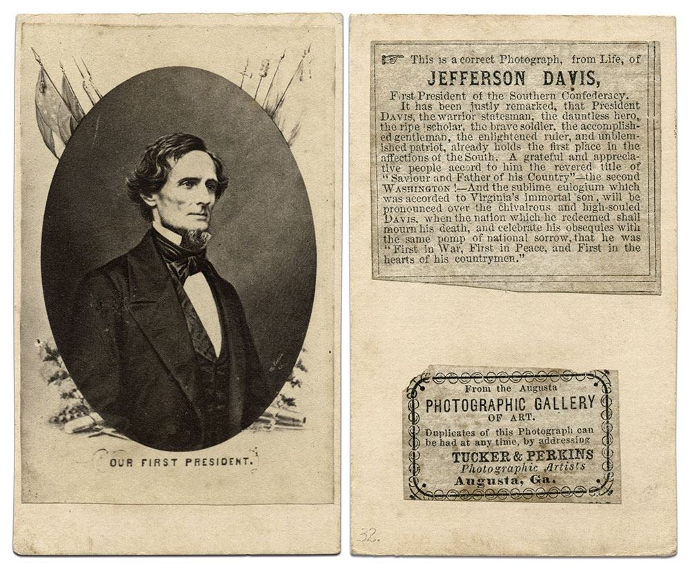"""Davis is revered as the """"Saviour and Father of his Country"""" in a caption on the back of this carte de visite by Tucker & Perkins."""