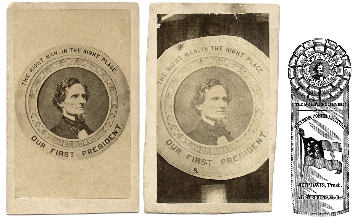 The Fitzgibbon badge is attached to a pole, center, in this carte de visite by Tucker & Perkins. The full badge, left, is shown in a carte de visite by Quinby & Co. of Charleston, S.C. The badge composed the centerpiece of a Confederate rosette pictured in engraving, right, from Harper's Popular Cyclopedia of United States History by Benson J. Lossing. The badge was surrounded by blue satin ribbon and attached to white ribbon that featured the Confederate flag.