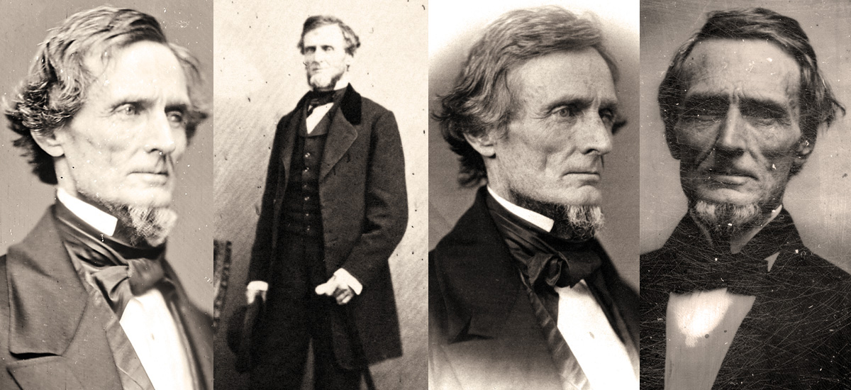 LEFT TO RIGHT: This iconic image of Davis is credited to the Washington studio of Mathew Brady (National Archives; Montgomery Meigs, a fellow Southerner and career military officer, is responsible for this rarely published portrait of Davis (Library of Congress); Davis was one of 311 members of Congress photographed by James E. McClees or his assistant, Julian Vannerson, in 1859 (Library of Congress); The facial characteristics visible here are similar to the other known portraits of Davis taken prior to the war (John O'Brien collection).