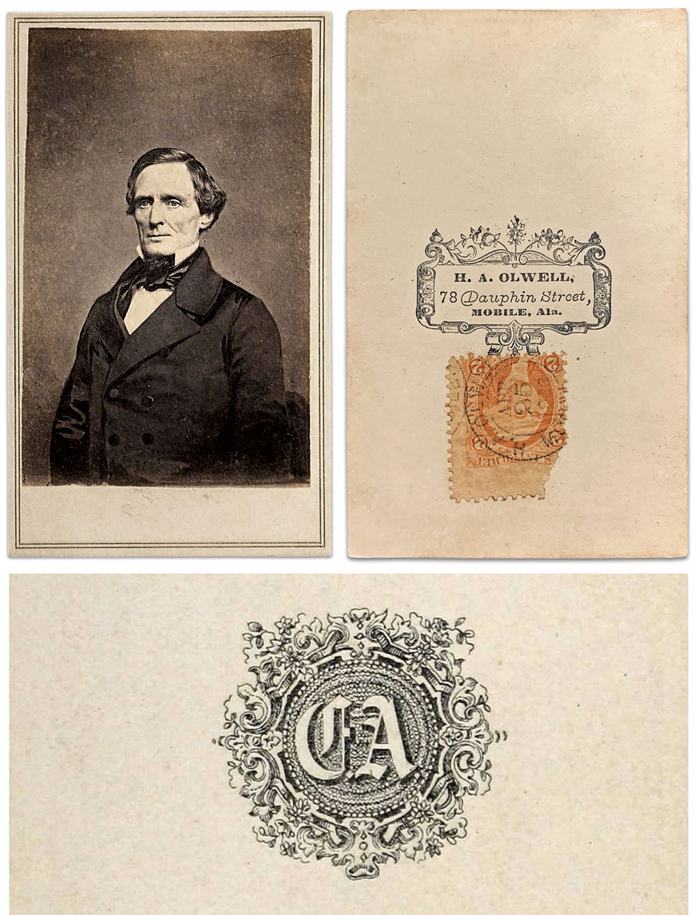 This carte de visite of President Jefferson Davis should have had an Anthony backmark similar to the example shown here. It is, however, attached to a mount with a Mobile, Ala., backmark. This is a professional remount job, not the amateur work of some guy in his bedroom. I'm impressed with the quality of this fakery, and angry that it was done.