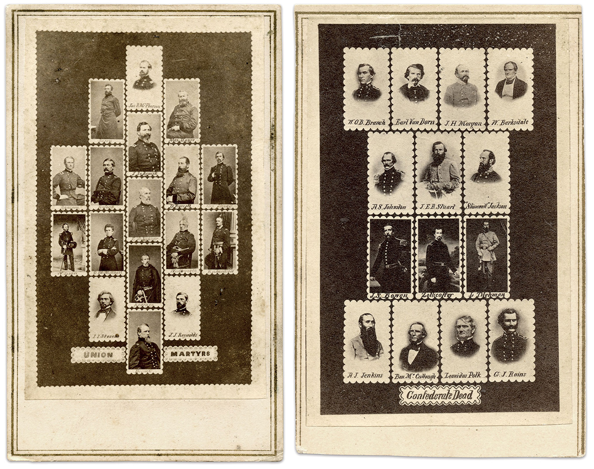 """MARTYRS AND DEAD: """"Union Martyrs"""" memorializes 17 generals who suffered death in battle. Brig. Gen. Thomas E.G. Ransom was the last of this group to die, of dysentery, on Oct. 29, 1864. A companion image pictures 14 """"Confederate Dead."""""""