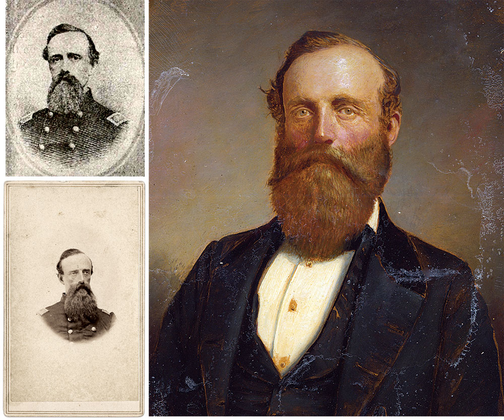 Clockwise from top left: Maj. Josiah Stevens, Jr., pictured in A History of the Second Regiment, New Hampshire Volunteer Infantry, in the War of the Rebellion (Internet Archive); Painting of Stevens by an anonymous artist (Courtesy of Rich Woodfin); Carte de visite of Stevens by Kimball of Concord, N.H. (Courtesy of The Horse Soldier, Gettysburg, Pa.)