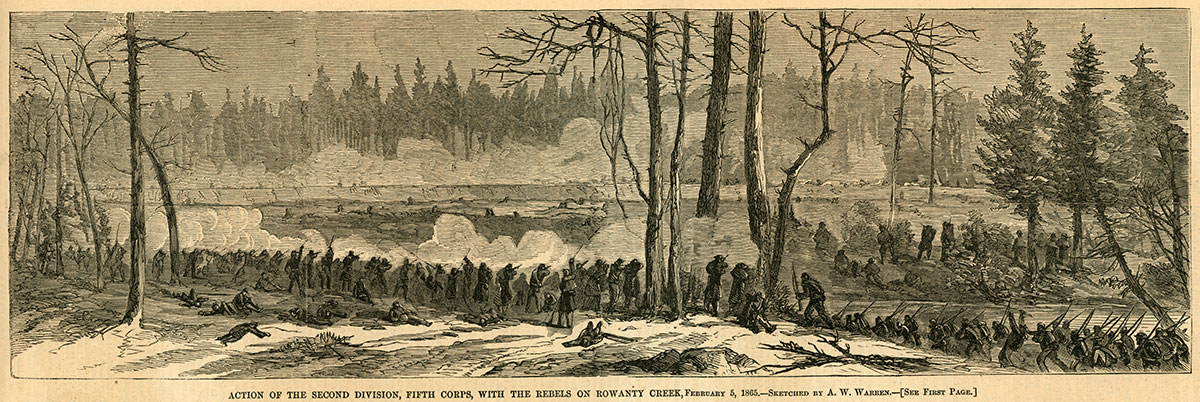 Engraving of the Second Division of the Fifth Corps in battle appeared in the Feb. 25, 1865, issue of Harper's Weekly.