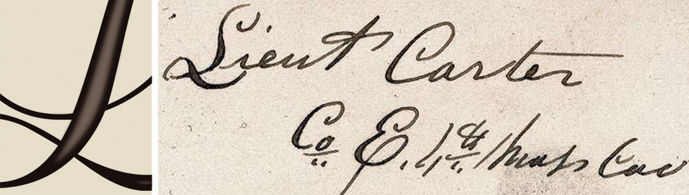AUTHENTIC: The rich brown ink is visible as outlines around the letters, and bleeding is absent or very minimal.