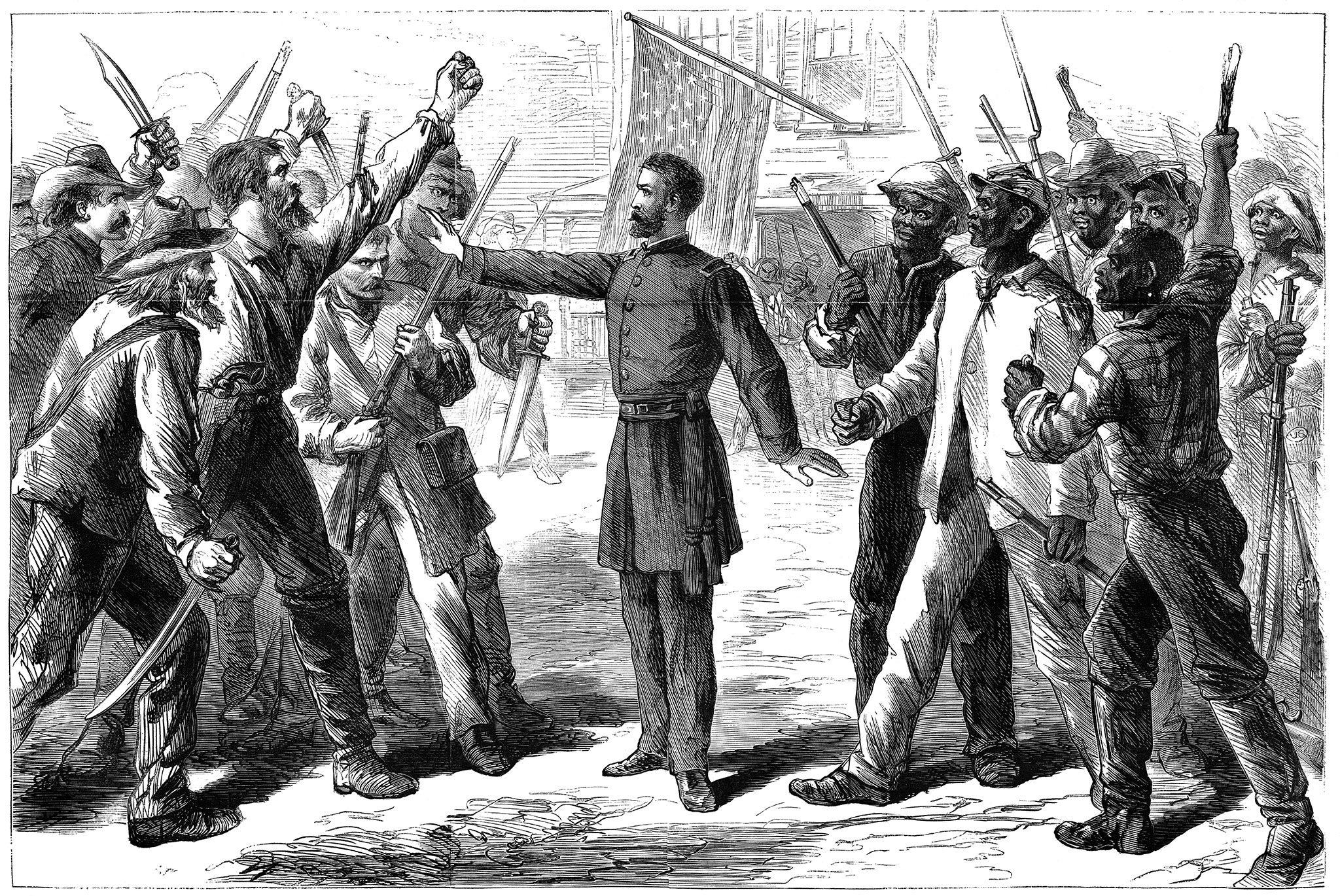 Across the South, Dickinson and other Freedman's Bureau officers were on the front lines of a conflict between Republican-supported African Americans eager to exercise their newly established civil rights and pro-Democrat vigilante groups who waged war to assert white supremacy. This illustration by artist Alfred R. Waud appeared in the July 25, 1868, issue of Harper's Weekly.