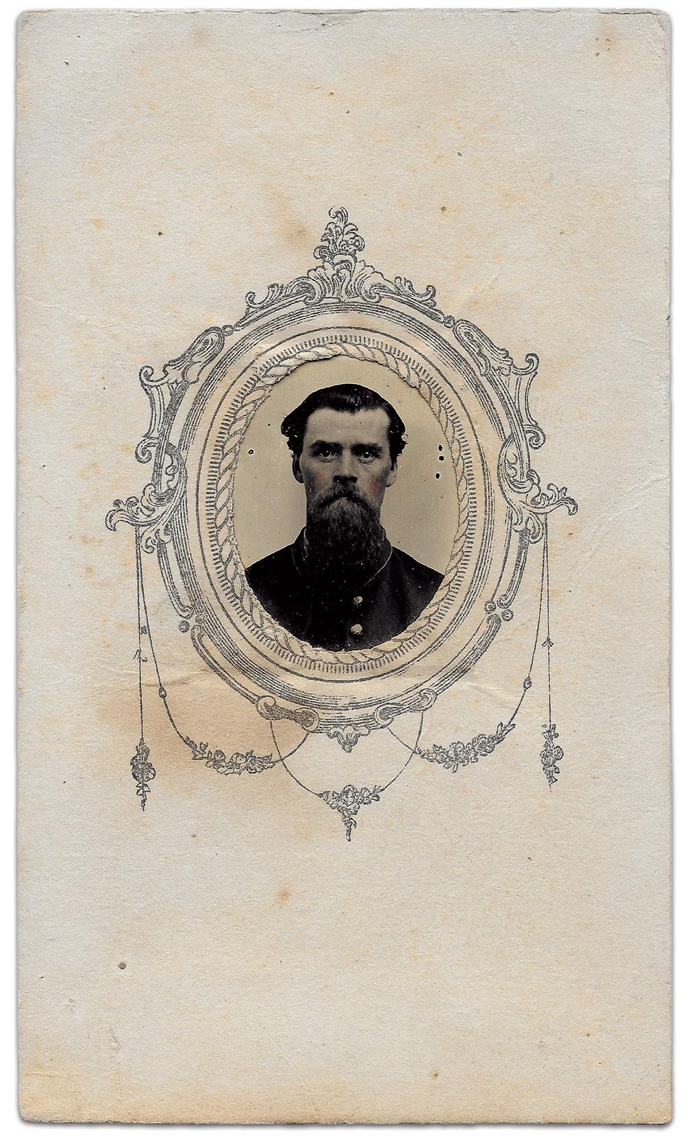 Gem-size tintype by Lothrop's Ferrotype Gallery of Philadelphia, Pa. Mark H. Dunkelman Collection.