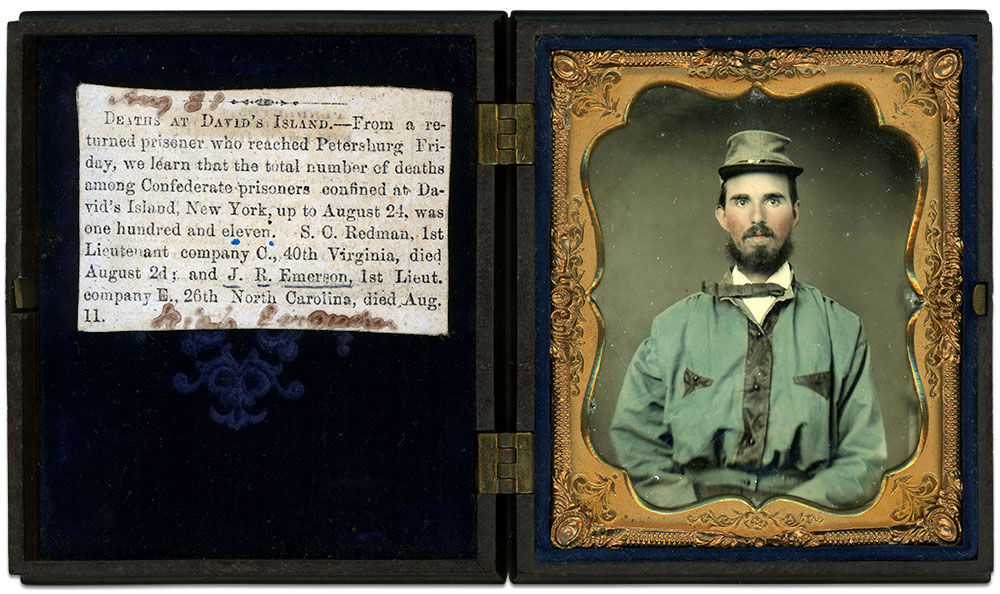 John R. Emerson pictured after he joined the 26th North Carolina Infantry in 1861. He was promoted to lieutenant the following year. Sixth-plate ruby ambrotype by an anonymous photographer. Author's collection.