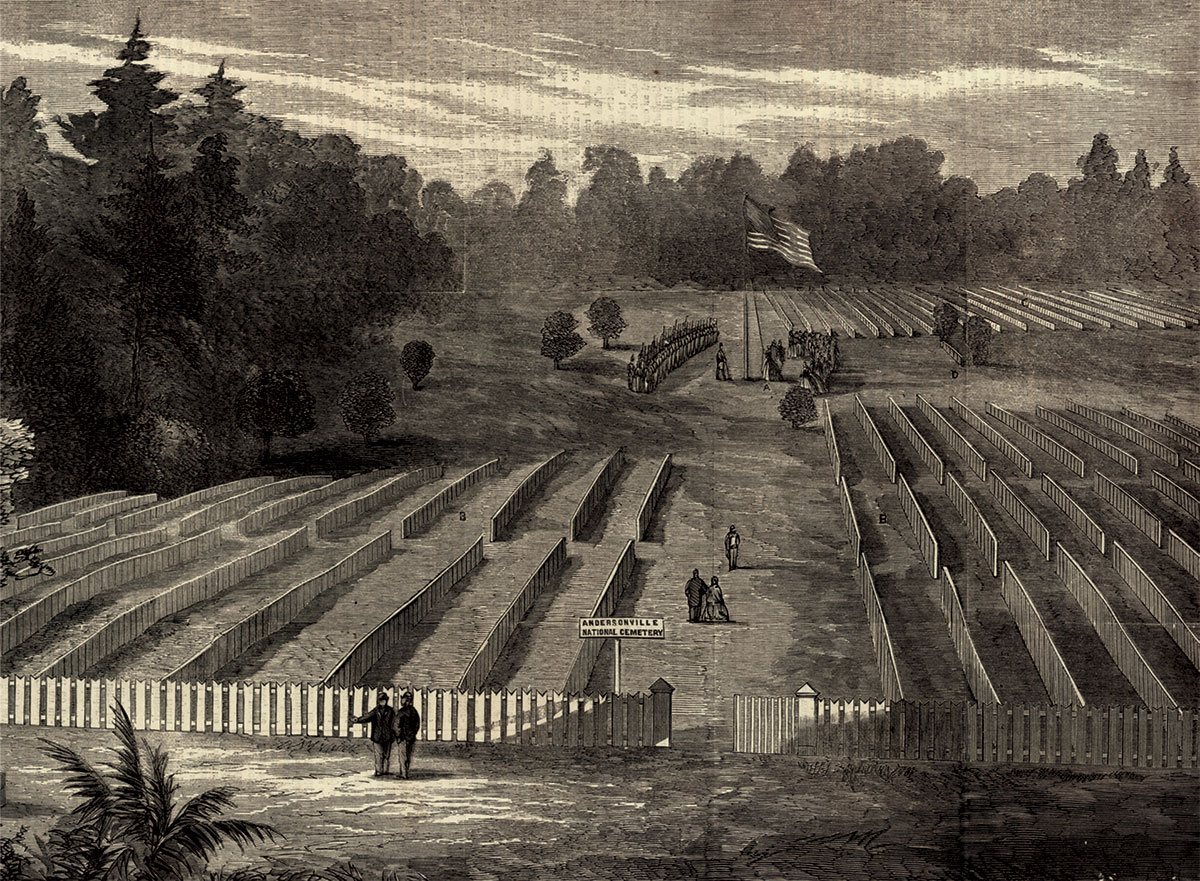 A view of the cemetery at Andersonville, published in the Oct. 1, 1865, issue of Harper's Weekly magazine.