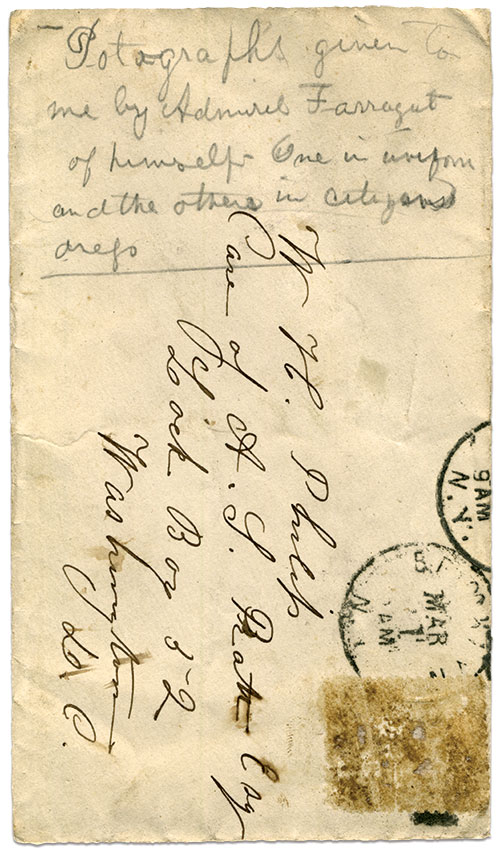 An old envelope in which Philip stored the Farragut cartes de visite. William Henry Philip Papers, Chuck Winans Collection.