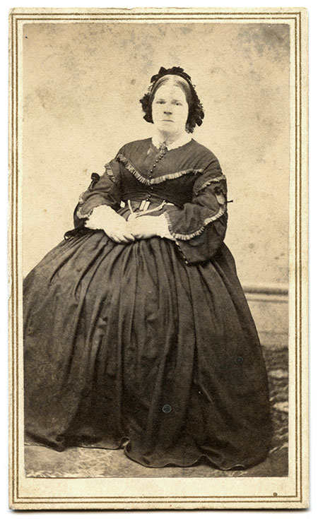 Sarah Gallop Gregg, about 1864-1865. Carte de visite by F. McNulty's City Gallery of Springfield, Ill. Author's collection.