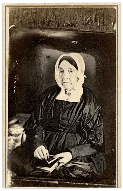 Copying photographs was new business, one that would become a reliable portion of photographer's earnings for decades to come. Carte de visite copy of a daguerreotype by an anonymous photographer. Erin Waters Collection.