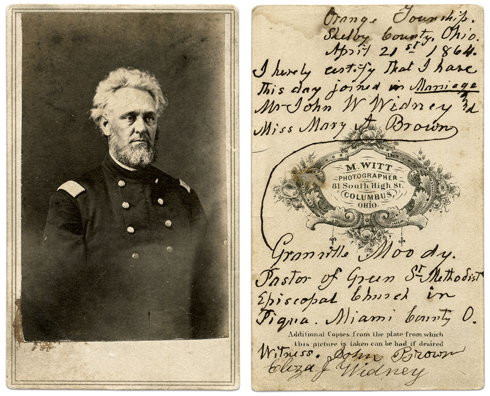 Carte de visite by M. Witt of Columbus, Ohio. Mike Medhurst Collection.