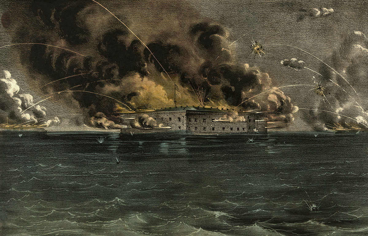 The bombardment of Fort Sumter is depicted in this Currier & Iveslithograph. Library of Congress.