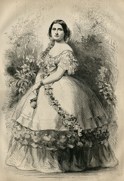Harriet Lane pictured in the March 31, 1860, issue of Frank Leslie's Illustrated Newspaper.