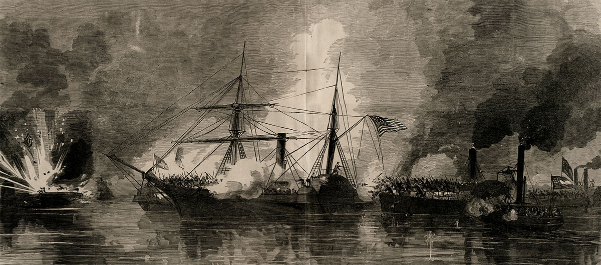 A Frank Leslie's Illustrated Newspaper artist depicted the boarding and capture of the Harriet Lane by Confederates during a surprise attack against Union-occupied Galveston, Texas, on New Year's Day 1863.