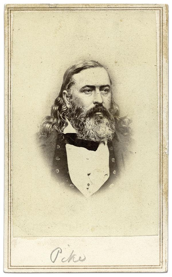 Albert Pike.Carte de visite by an anonymous photographer. The American Civil War Museum, Richmond, Va.