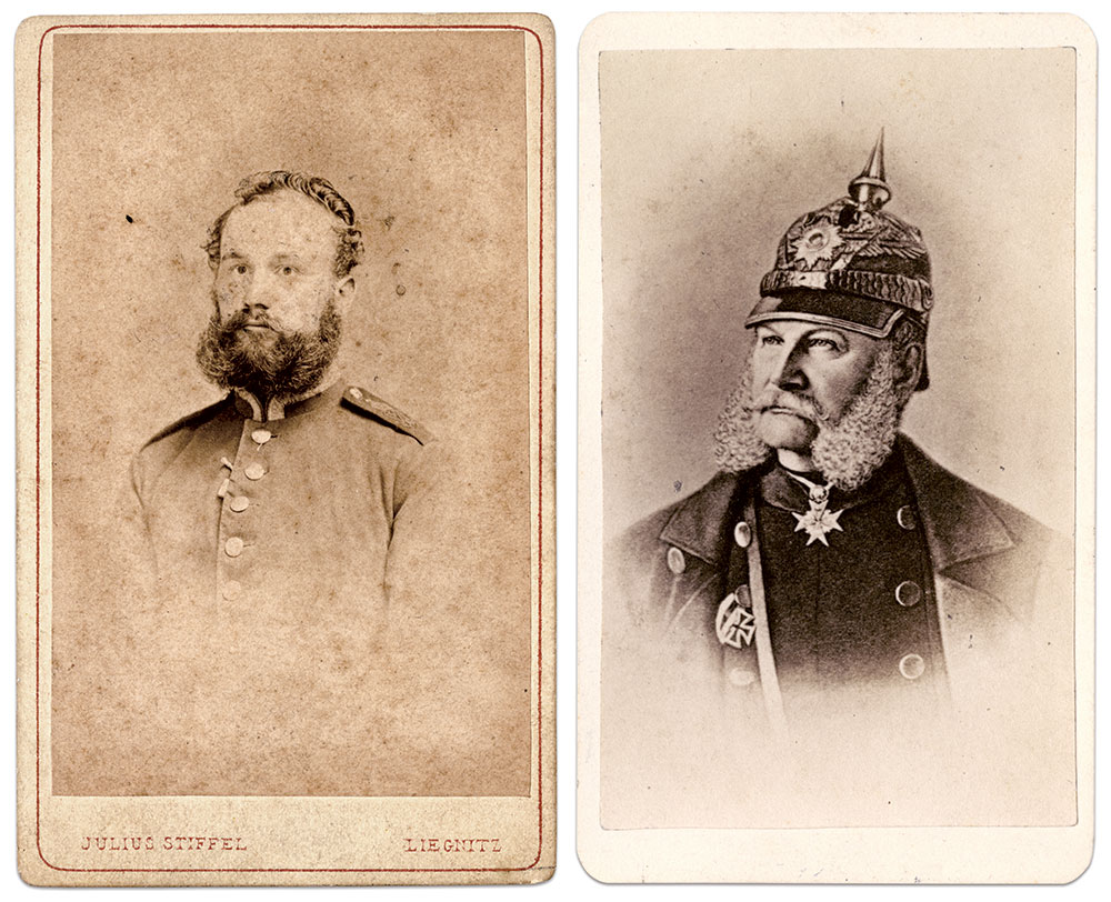 LOYAL TO THE KING: Barth, left, is pictured as a soldier in the army of Prussian King Frederick Wilhelm IV, right.