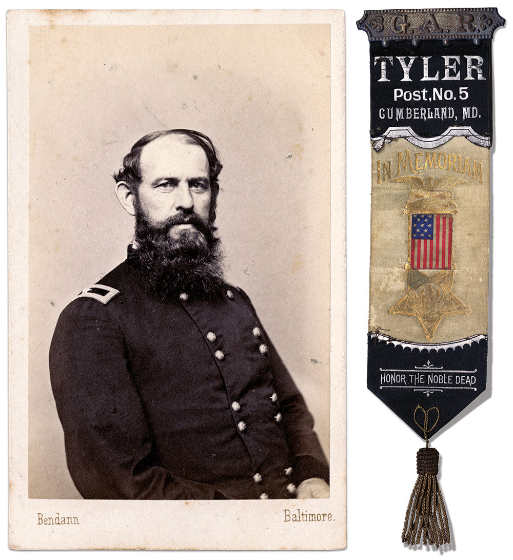 HONOR THE NOBLE DEAD: These words are imprinted on this ribbon from The Grand Army of the Republic's Tyler Post No. 5 in Cumberland, named for Brevet Maj. Gen. Erastus B. Tyler, a brigade commander in the Defenses of Baltimore who distinguished himself at the Battle of Monocacy.