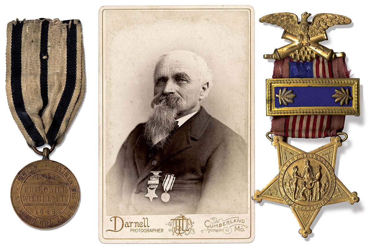 DEFEATING REBELS IN HIS HOMELAND AND ADOPTED COUNTRY: Veteran Barth wears the Prussian-Hohenzollern Medal, left, received for his participation in the defeat of German rebels, and his Grand Army of the Republic Junior Vice Commander's badge, right.