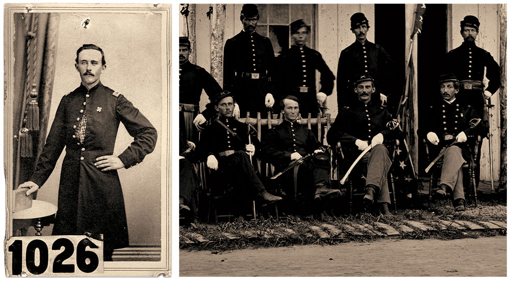 OFFICERS OF THE 2nd NEW YORK HEAVY ARTILLERY: 1st Lt. Robert Finley is pictured in this carte de visite, and again on the far left in this detail of the soldiers on the porch. Seated next to Finley, from left to right, are 2nd Lt. H. Hill Wheeler, Jr., Capt. Lendall H. Bigelow and probably Maj. Sullivan B. Lamoreaux. Carte de visite by Quartus Parsons Knight of Batavia, NY. New York State Military Museum.
