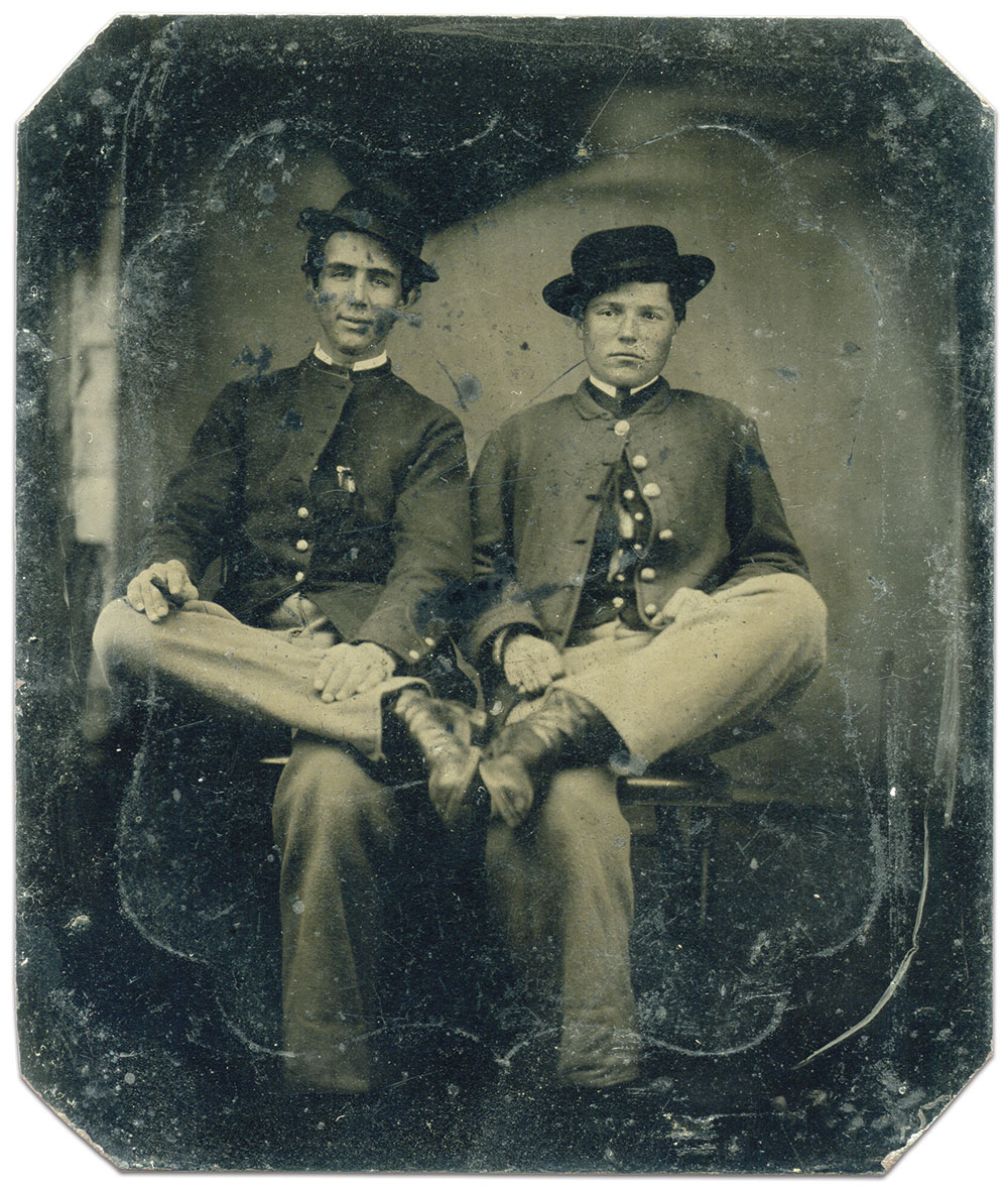 Fisher, seated right, pictured as a private with a comrade in the 7th Maryland, circa 1863. Sixth-plate tintype by an anonymous photographer. Kirk Fisher Collection.