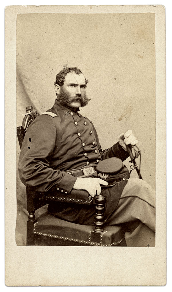 HE ORDERED HIS MEN TO FIRE: Albert S. Follansbee commanded four  companies from the rail cars into the streets of Baltimore, where they were greeted by mobs waving a secessionist flag, hurling rocks, screaming insults and firing pistols. Carte de visite by Warren of Lowell, Mass. Collection of Deb and Gil Barrett.