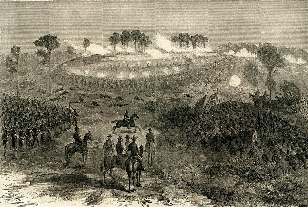 The assault on Fort Harrison pictured in the Oct. 22, 1864, issue of Harper's Weekly.
