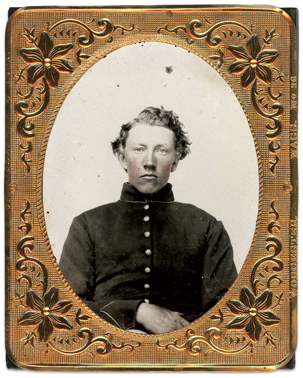 Ninth-plate ruby ambrotype by an anonymous photographer. Charles Joyce Collection.