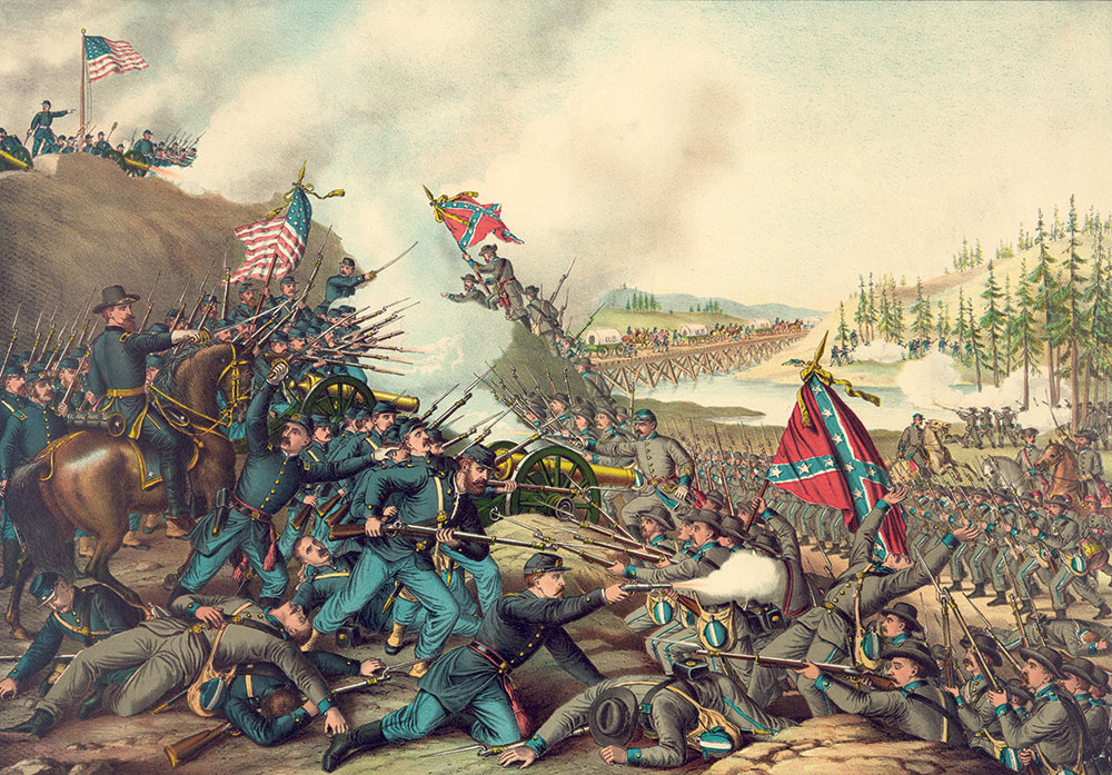 """Detail of """"Battle of Franklin,"""" published by Kurz & Allison. Library of Congress."""