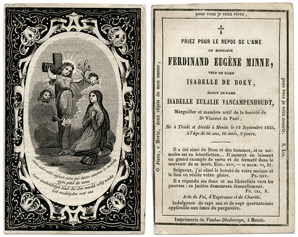 Memorial Photographs are rooted in the European custom of sharing memorial cards, as shown in this example for Belgian pharmacist Ferdinand Eugène Minne (1798-1855).