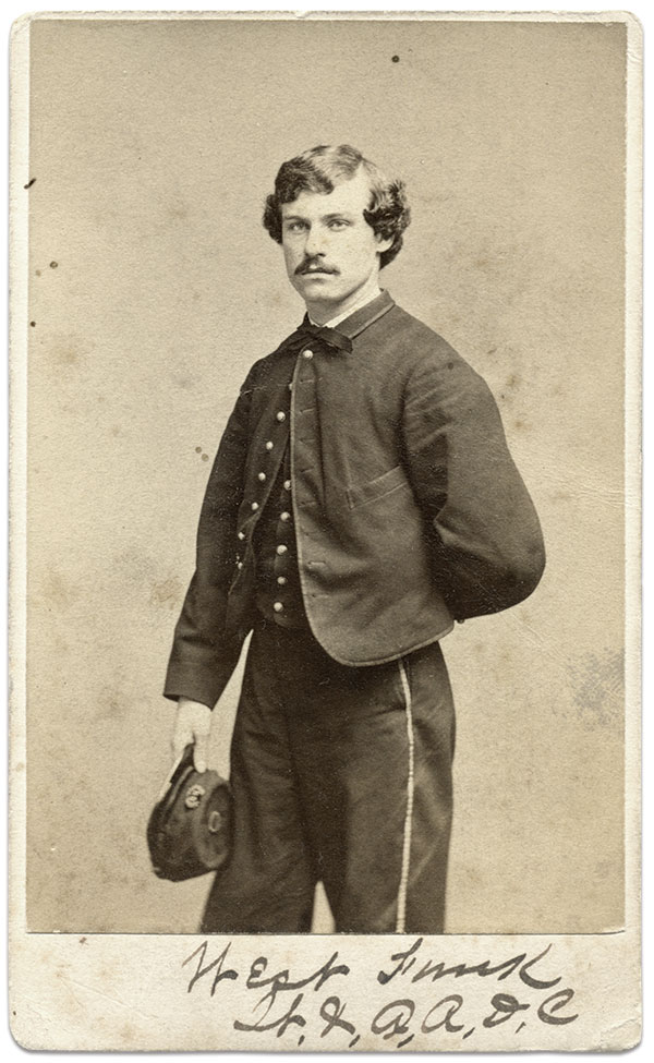 West Funk, pictured as first lieutenant and acting aide-de-camp on the staff of Brig. Gen. Joshua Lawrence Chamberlain. Funk aided Chamberlain after he was struck and severely wounded in front of Petersburg, Va., on June 18, 1864. Carte de visite by Frederick Gutekunst of Philadelphia, Pa. Rick Carlile Collection.