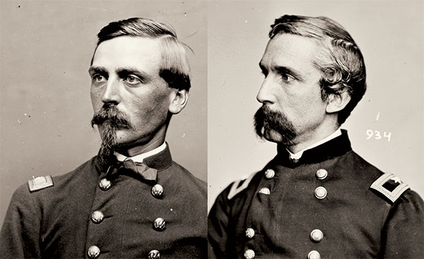 Billings and his comrades in the 20th were commanded by Adelbert Ames, left, and Joshua Lawrence Chamberlain. Library of Congress.