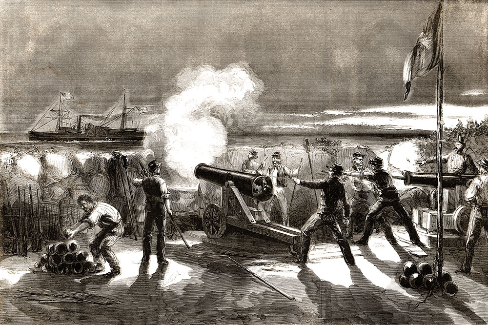 The firing on the Star of the West as depicted in the Jan. 26, 1861, issue of Harper's Weekly.