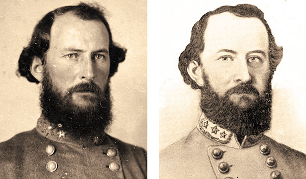 CASE STUDY: Searching this hand-drawn portrait, right, of Bryan Grimes without any army or rank filters yielded 893 search results, with the matching ambrotype, left, ranked No. 7. Images: North Carolina Collection Photographic Archives, left, and an engraving from Lives of Distinguished North Carolinians (1897) by William Joseph Peele.