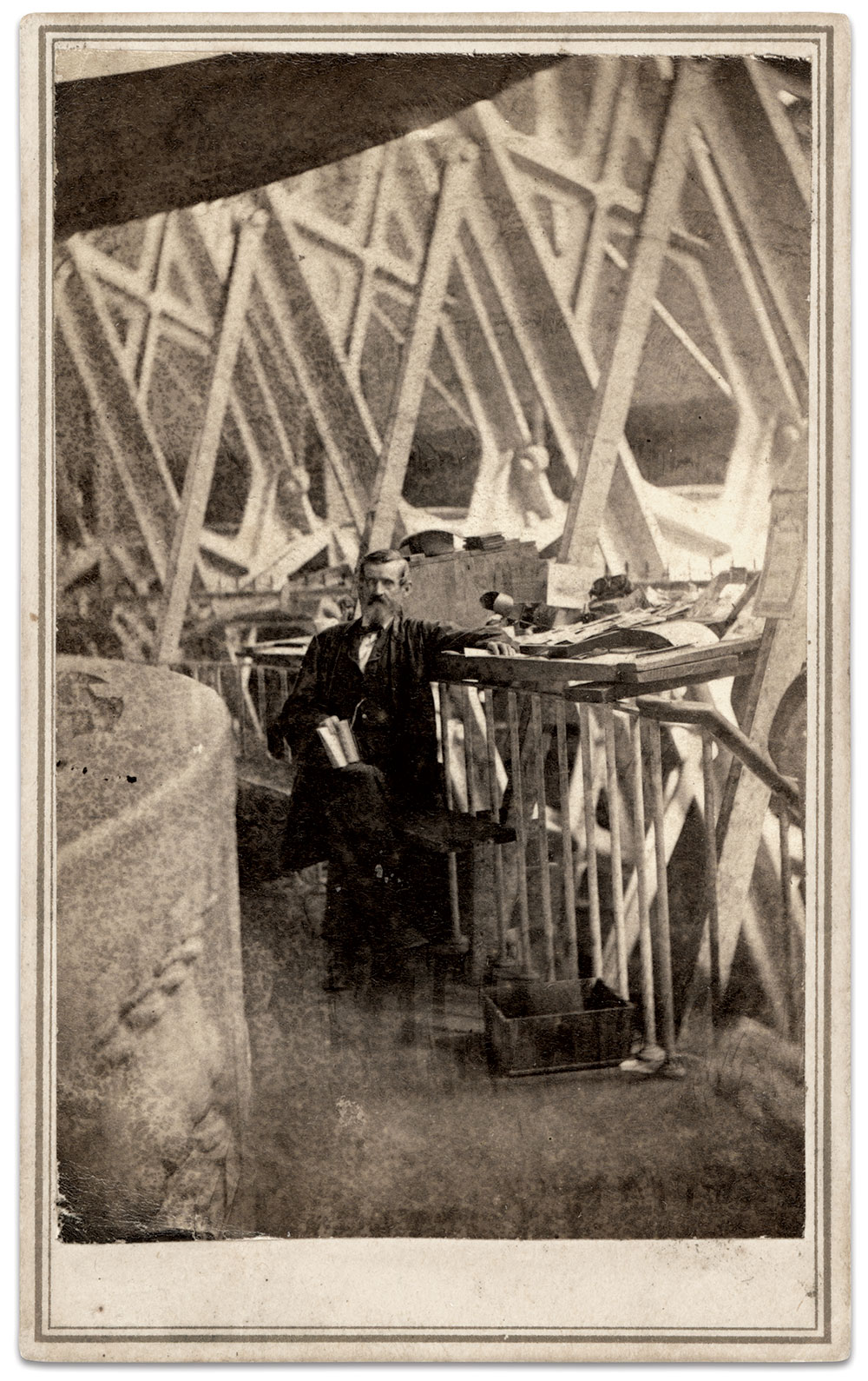 Officer John P. Gulick inside the Capitol Dome. Carte de visite by William H. Bell and A.F. Hall of Washington, D.C. Ronald S. Coddington Collection.